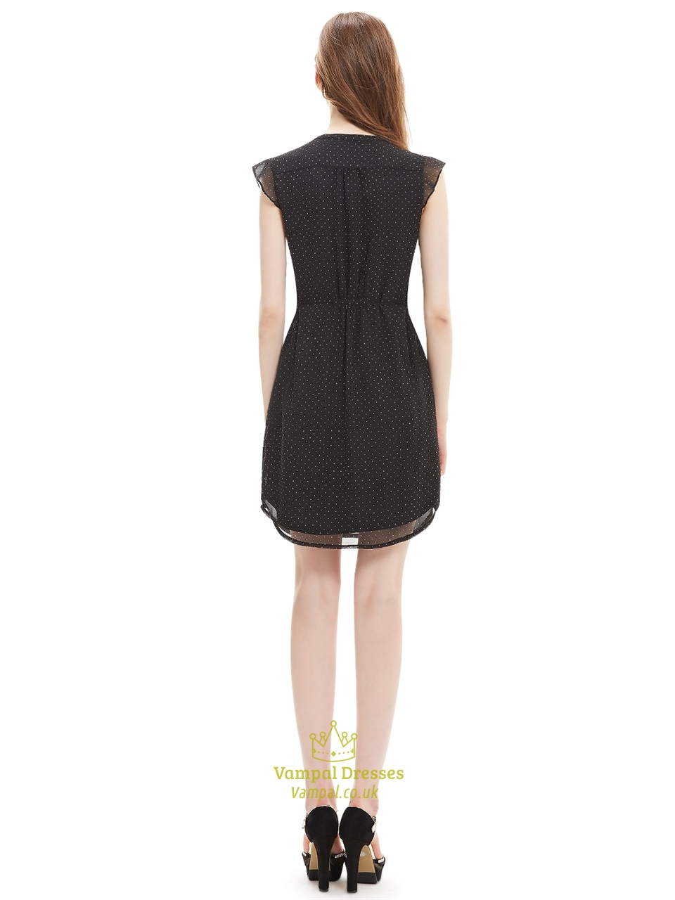 Black Chiffon Summer Women S Semi Formal Dresses With Cap