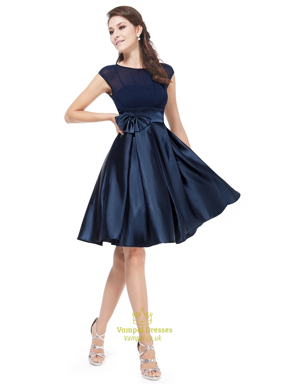 Navy Blue Knee Length Chiffon And Satin Cocktail Dress With Cap ...