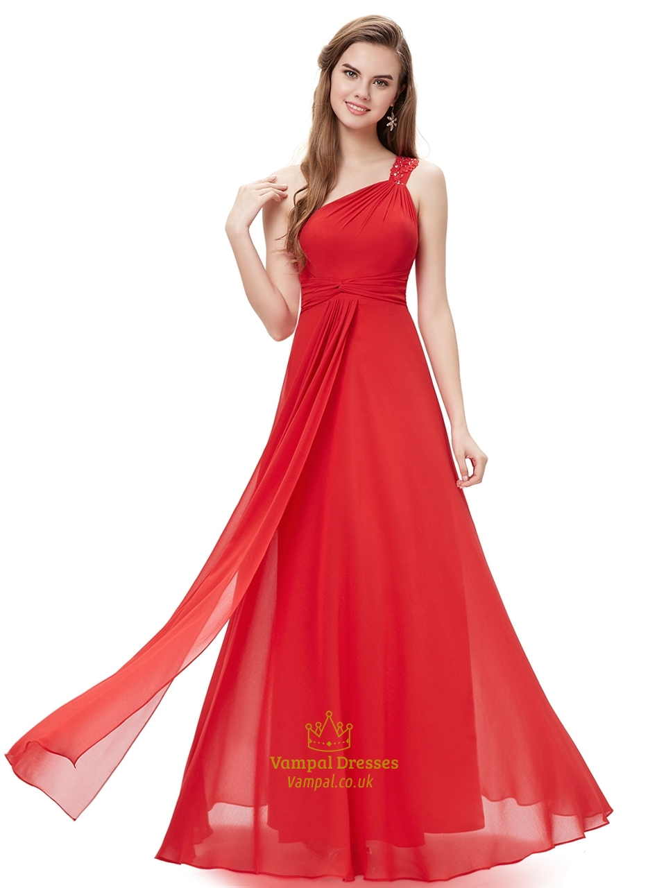 e5f84332e9fb Red Flowy One Shoulder Chiffon Bridesmaid Dresses With Beaded Straps SKU  -NW1180