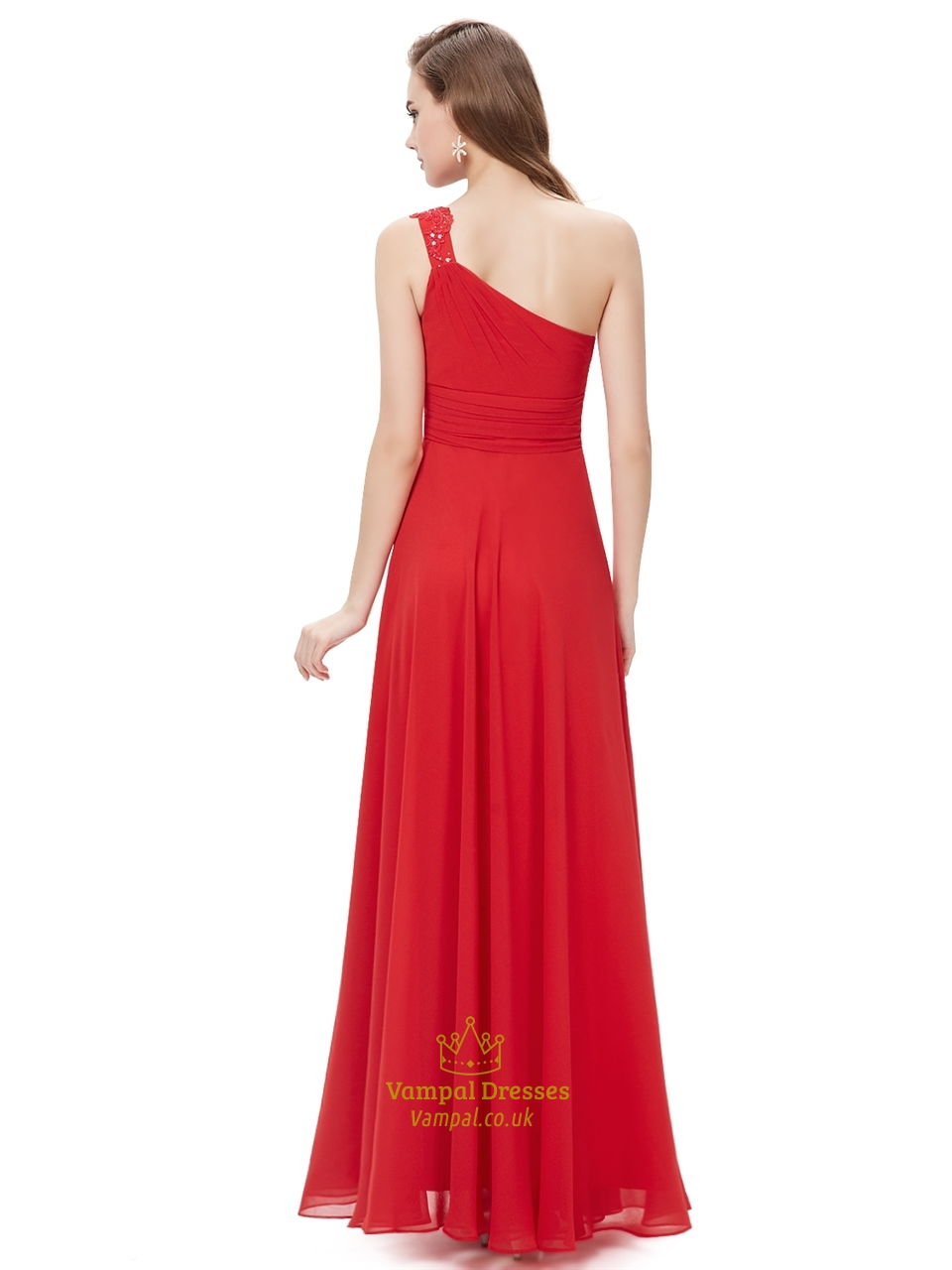 Red Flowy One Shoulder Chiffon Bridesmaid Dresses With