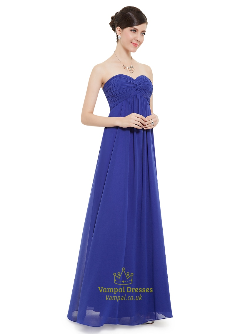 Buy Blue royal bridesmaid dresses chiffon picture trends