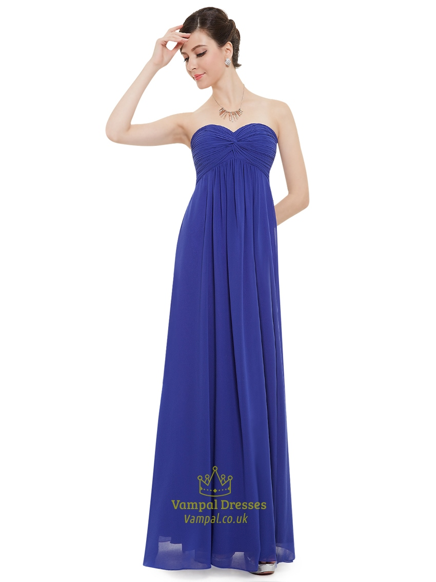 Blue royal bridesmaid dresses chiffon rare photo