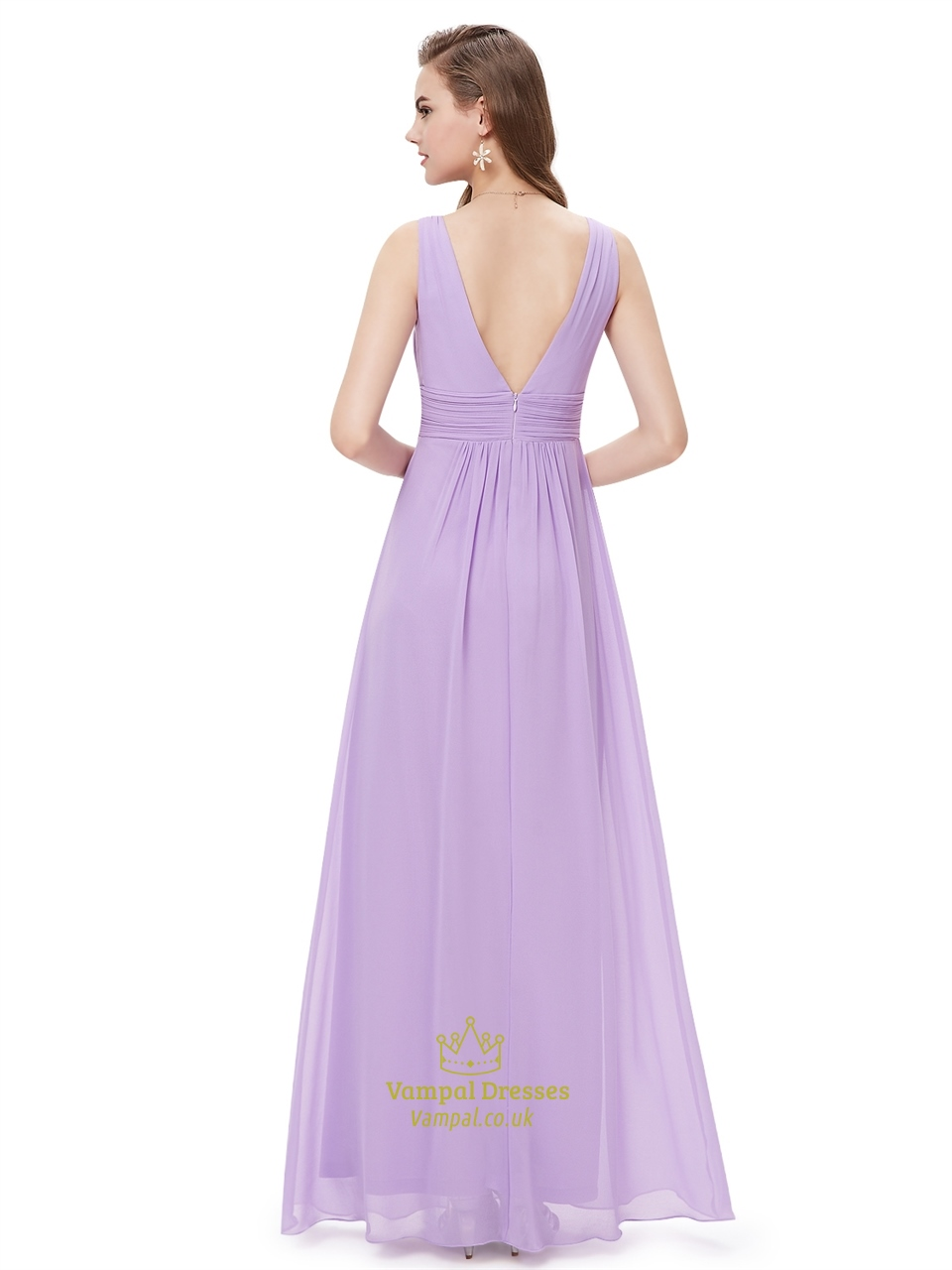Lilac V Neck Sleeveless Chiffon Bridesmaid Dresses For