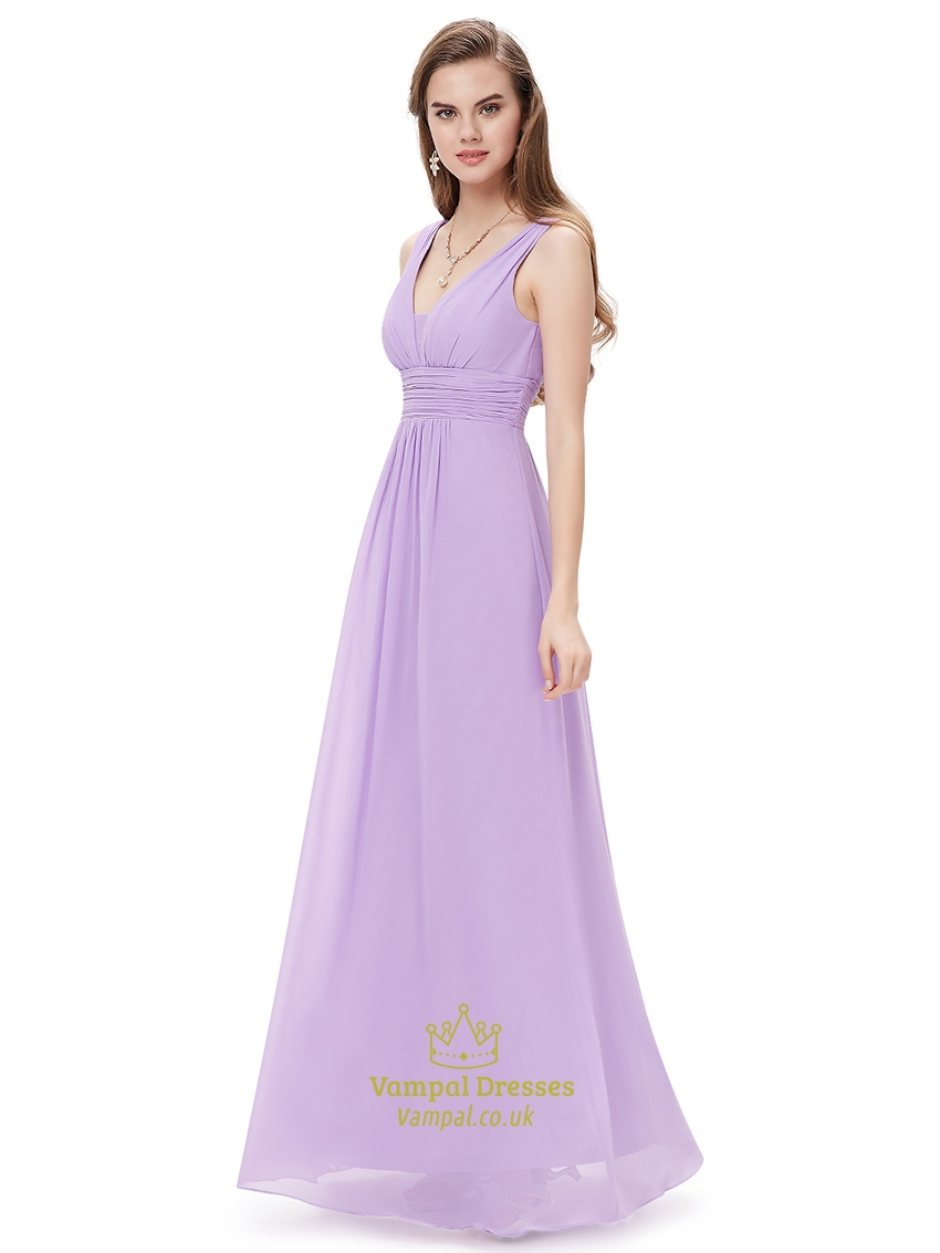 Lilac v neck sleeveless chiffon bridesmaid dresses for for Lilac dress for wedding