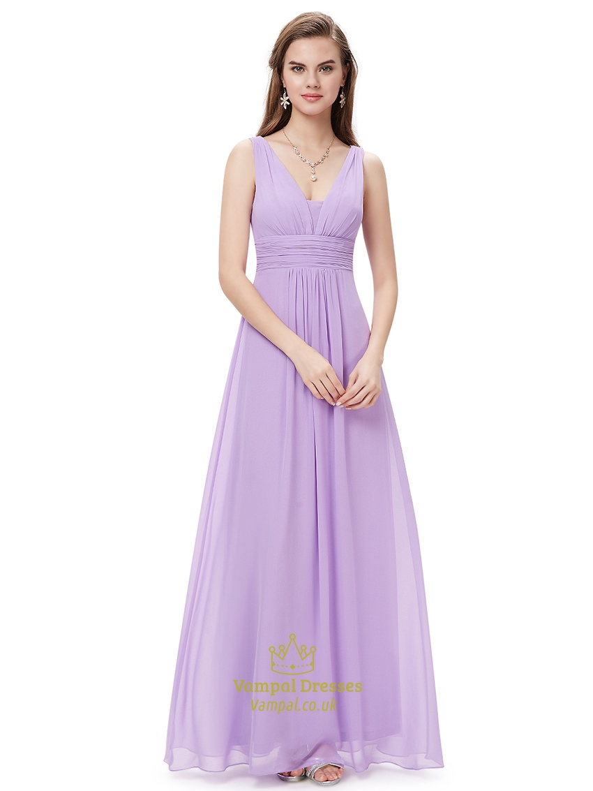 Lilac v neck sleeveless chiffon bridesmaid dresses for for Dresses for spring wedding