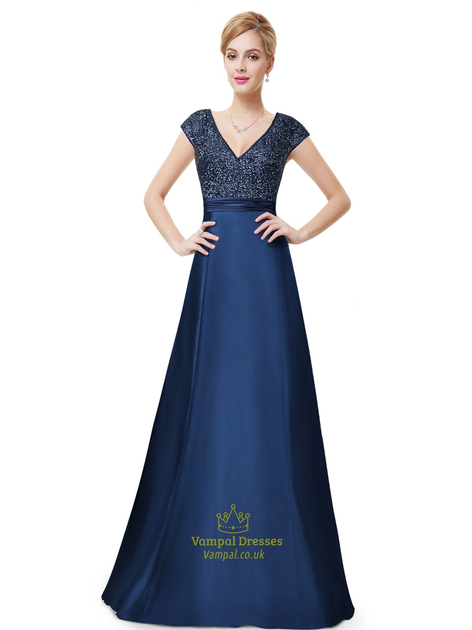 Navy Blue Sleeveless V Neck Sequin Bodice Evening Dress