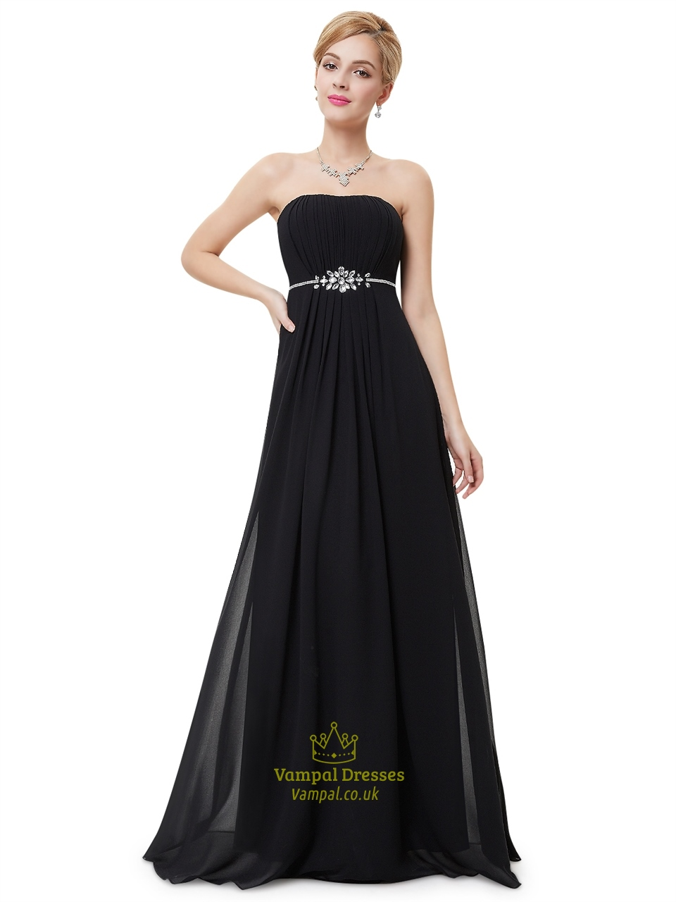 Black Strapless Ruched Bodice Bridesmaid Dress With Beaded Waist ...