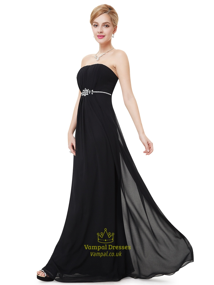 Black Strapless Ruched Bodice Bridesmaid Dress With Beaded