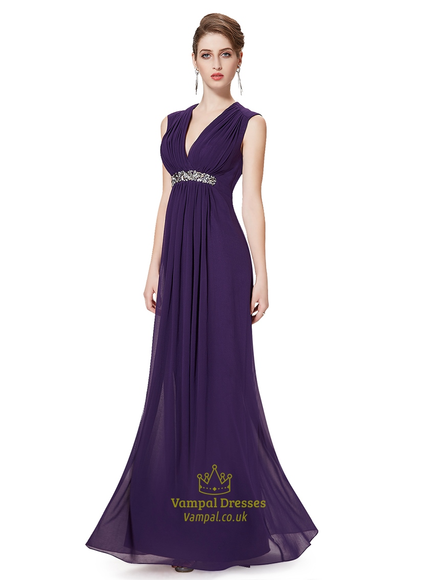 Grape V-Neck Chiffon Sleeveless Bridesmaid Dresses With Beaded ...