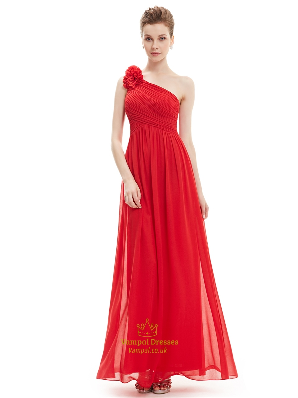 72a64593ab9 Red One Shoulder Flower Strap Chiffon Floor Length Bridesmaid Dresses SKU  -NW1188