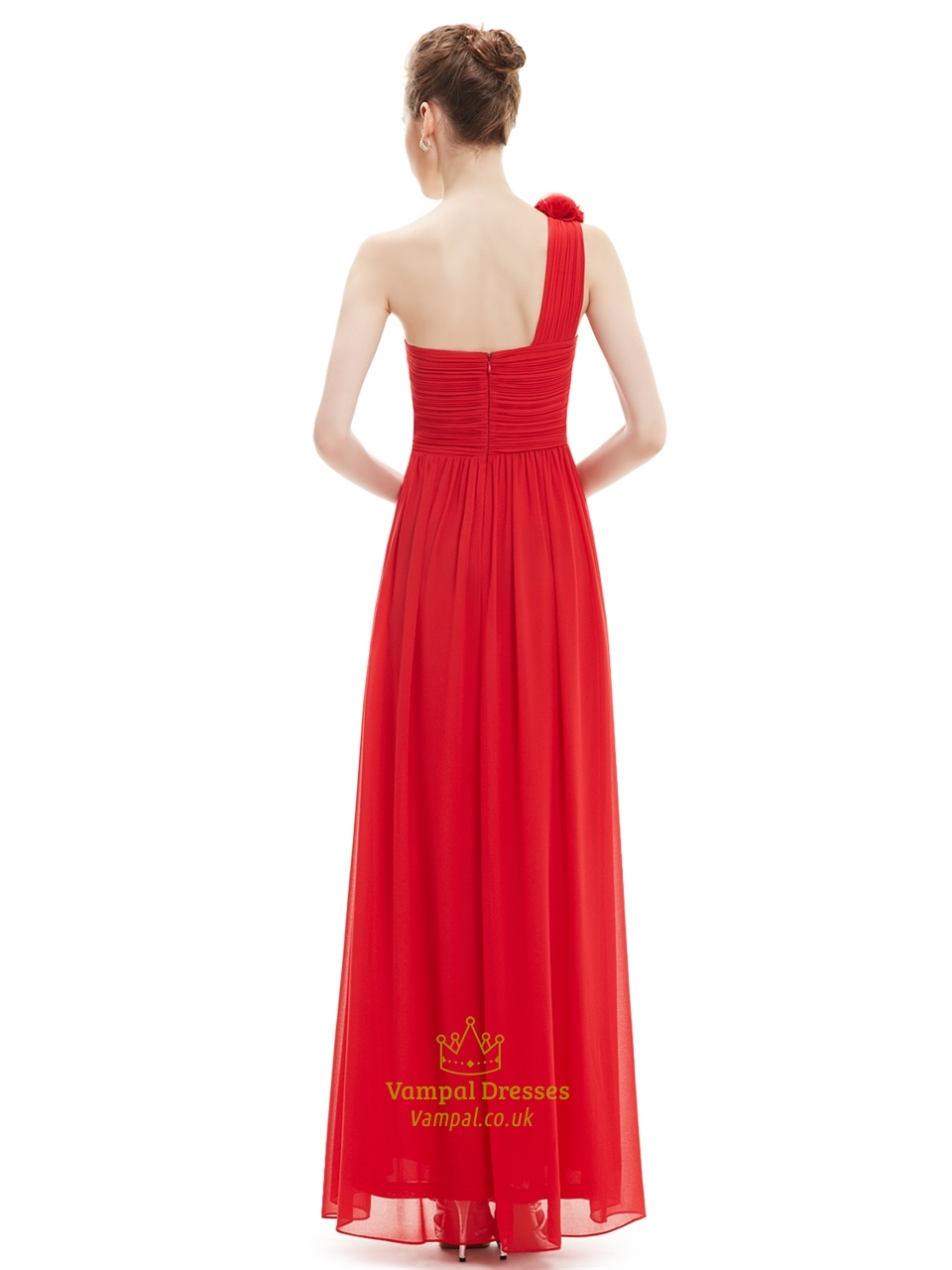 Red one shoulder flower strap chiffon floor length for Floor length dress