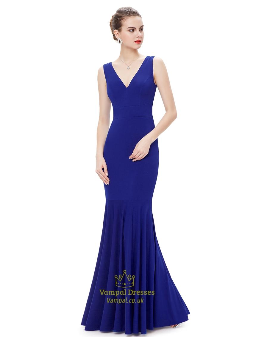 elegant royal blue mermaid v neck sleeveless floor length