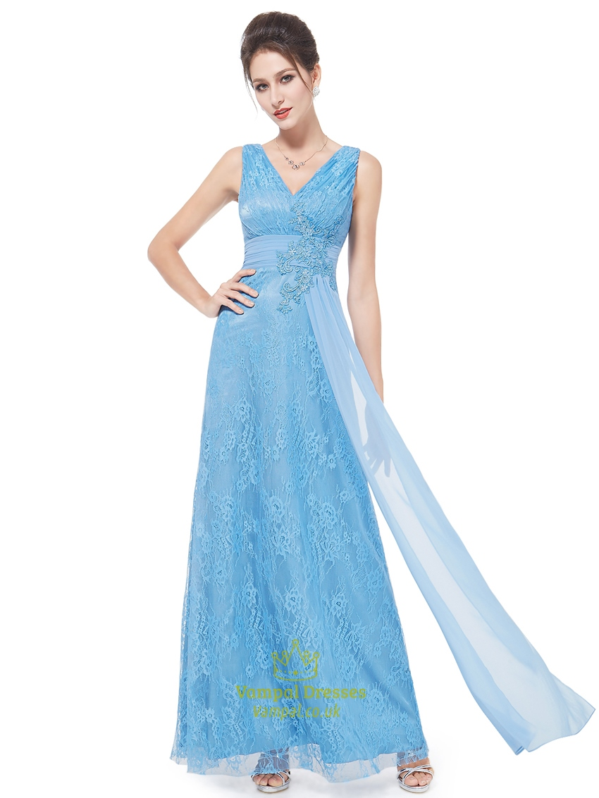 flowy light blue lace v neck full length prom dress with