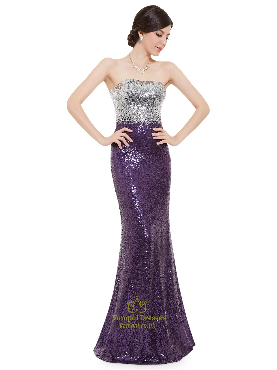 purple and silver strapless mermaid sequin floor length