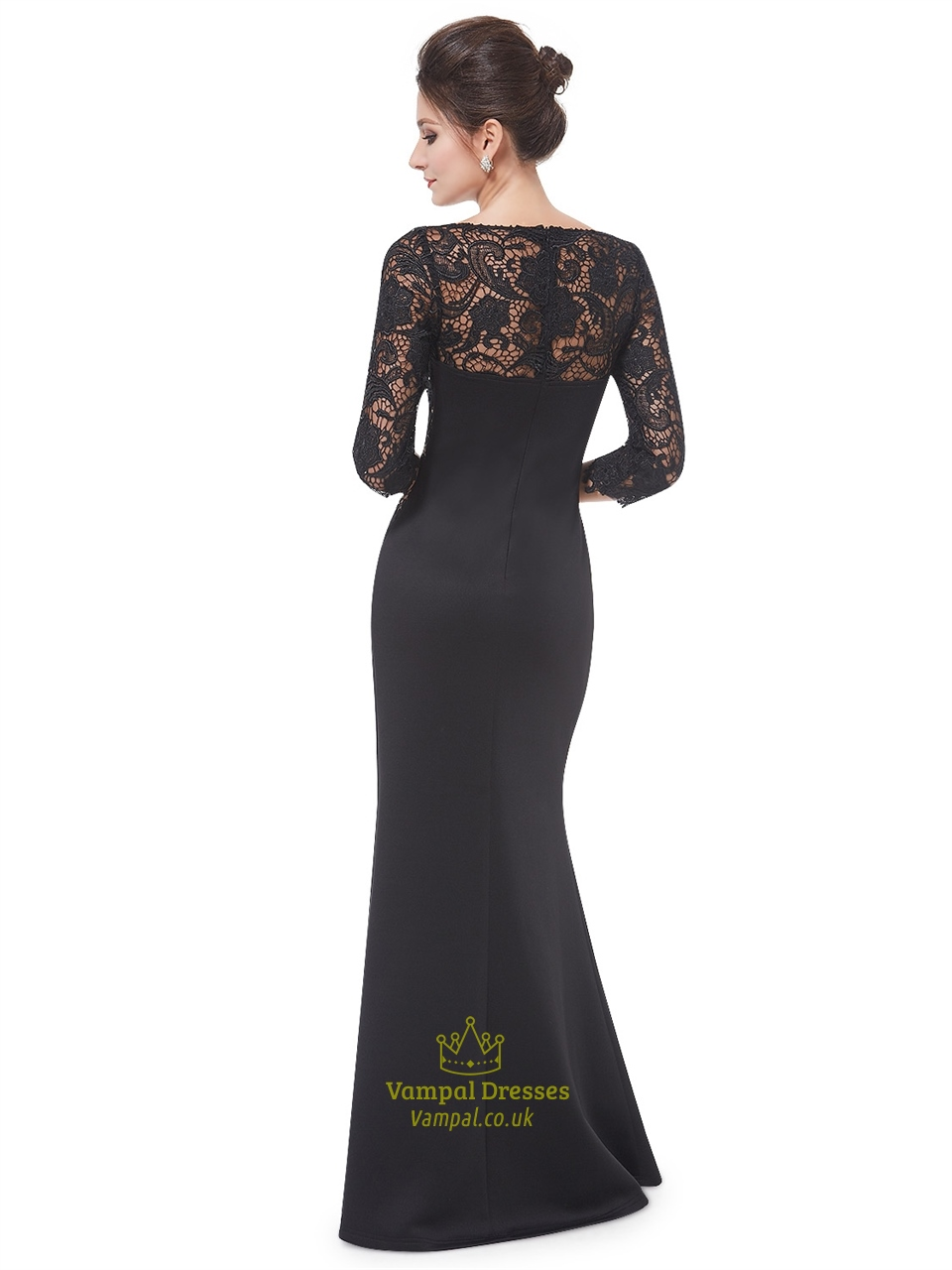 Black Lace Top Mermaid Mother Of The Bride Dresses With 3