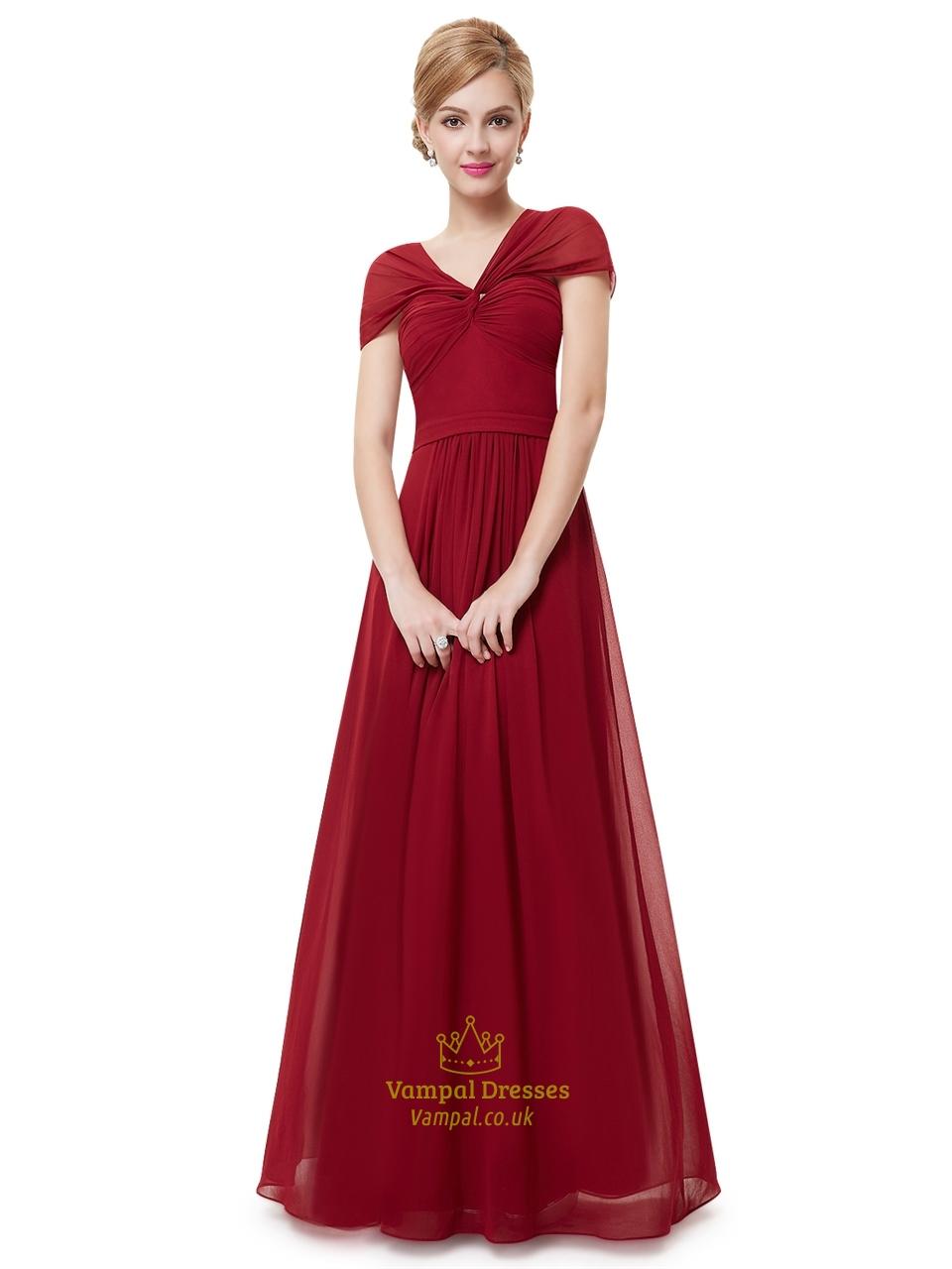 Burgundy V Neck Chiffon Floor Length Bridesmaid Dresses