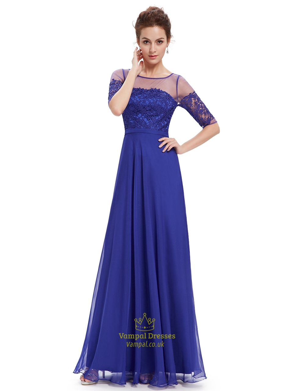 Royal blue summer lace bodice bridesmaid dresses with half for Blue wedding dress with sleeves