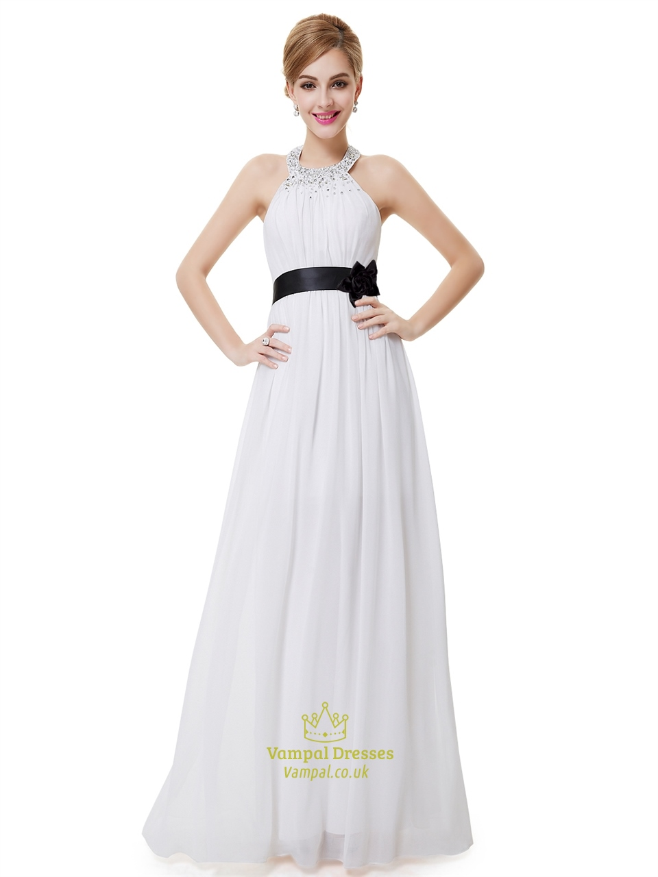 White Halter Neck Beaded Chiffon Bridesmaid Dress With