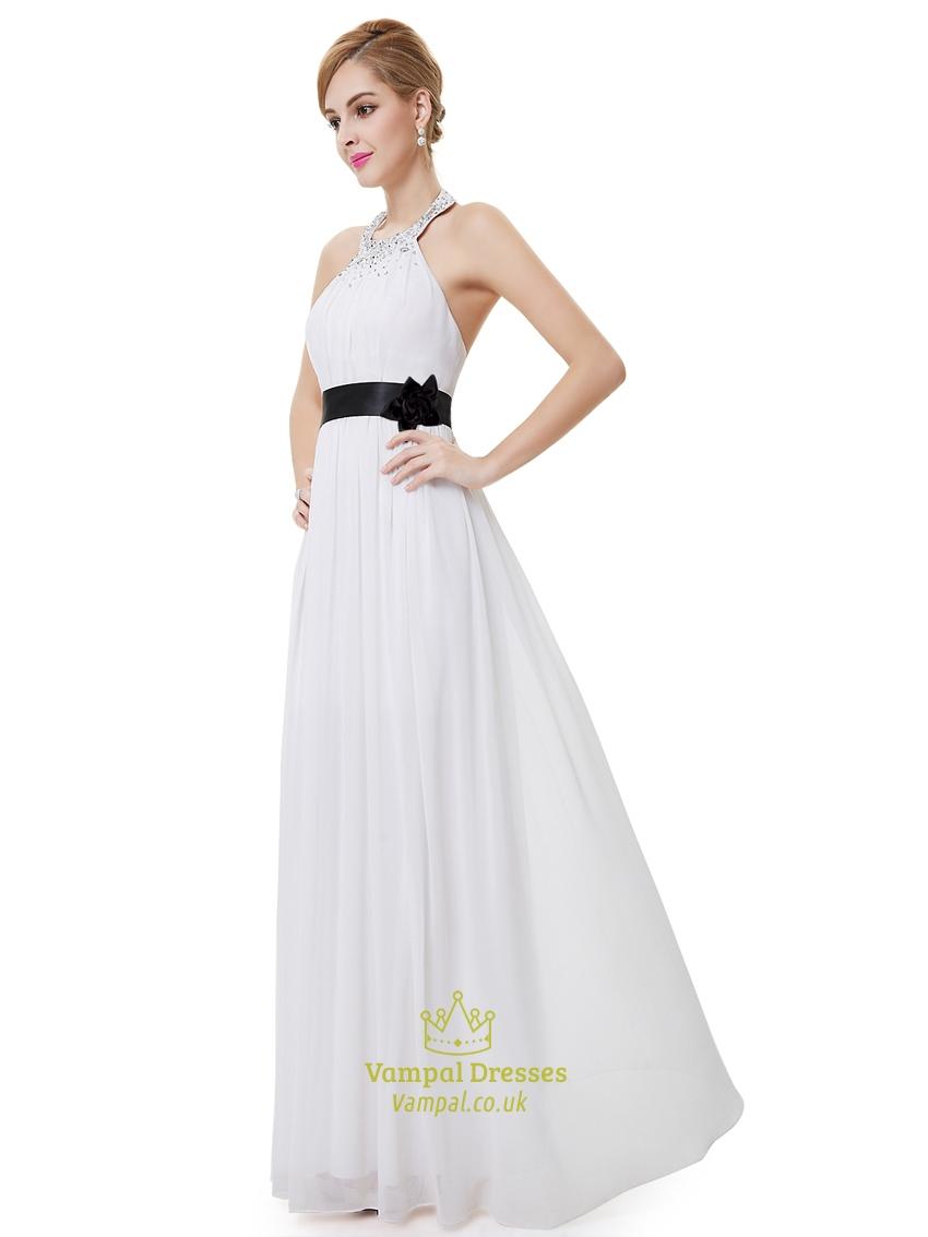 White halter neck beaded chiffon bridesmaid dress with for White wedding dress with black sash