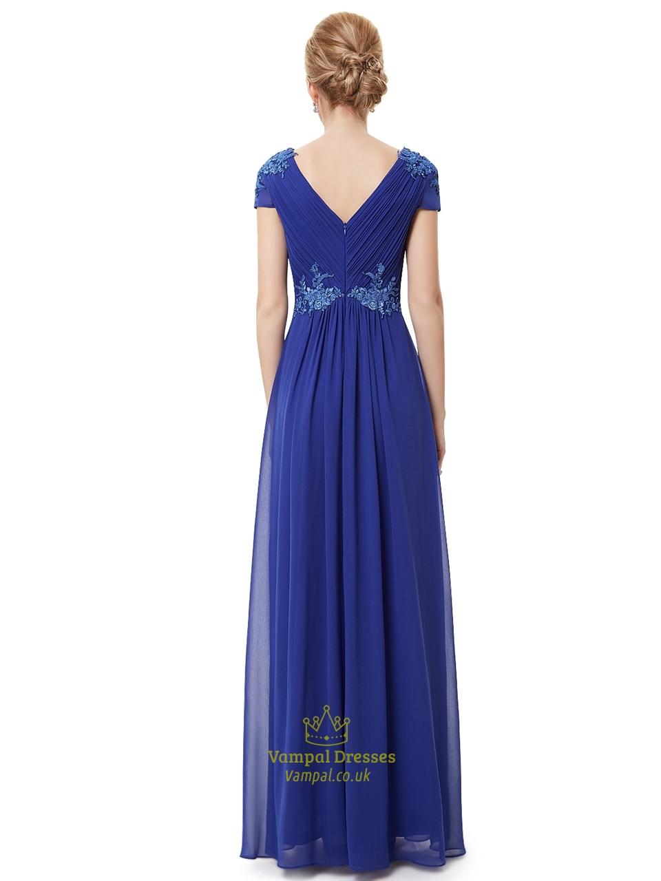 Royal Blue Cap Sleeve Chiffon Prom Dress With Applique Embellishment | Vampal Dresses