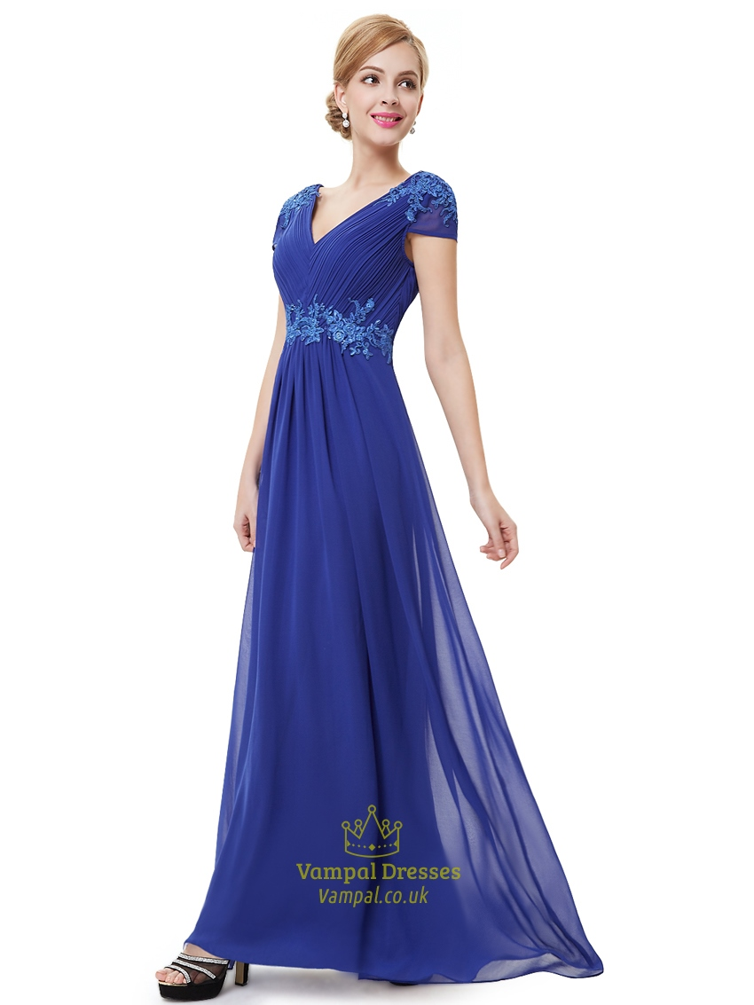 royal blue cap sleeve chiffon prom dress with applique