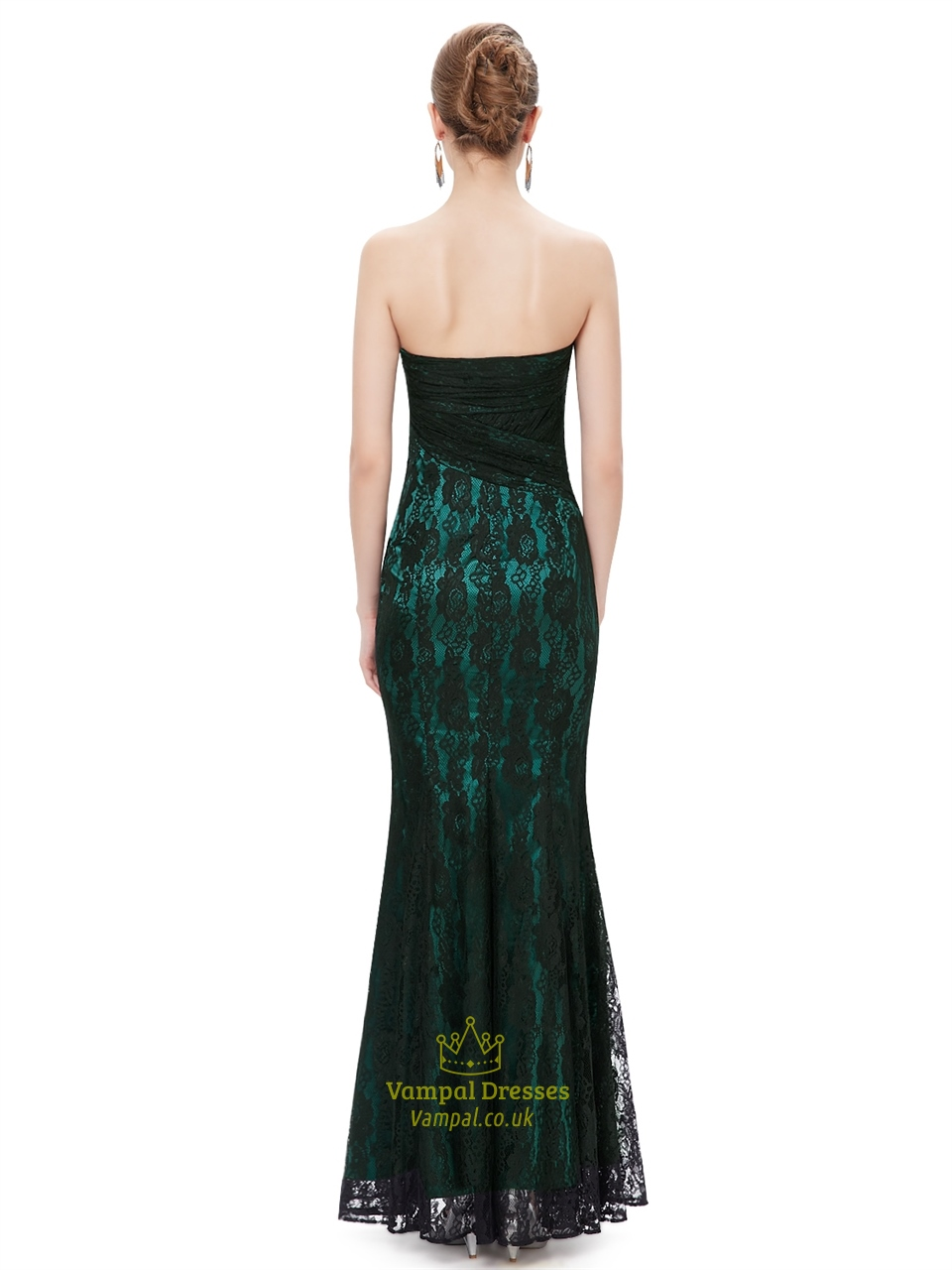black and green strapless mermaid prom dresses with lace