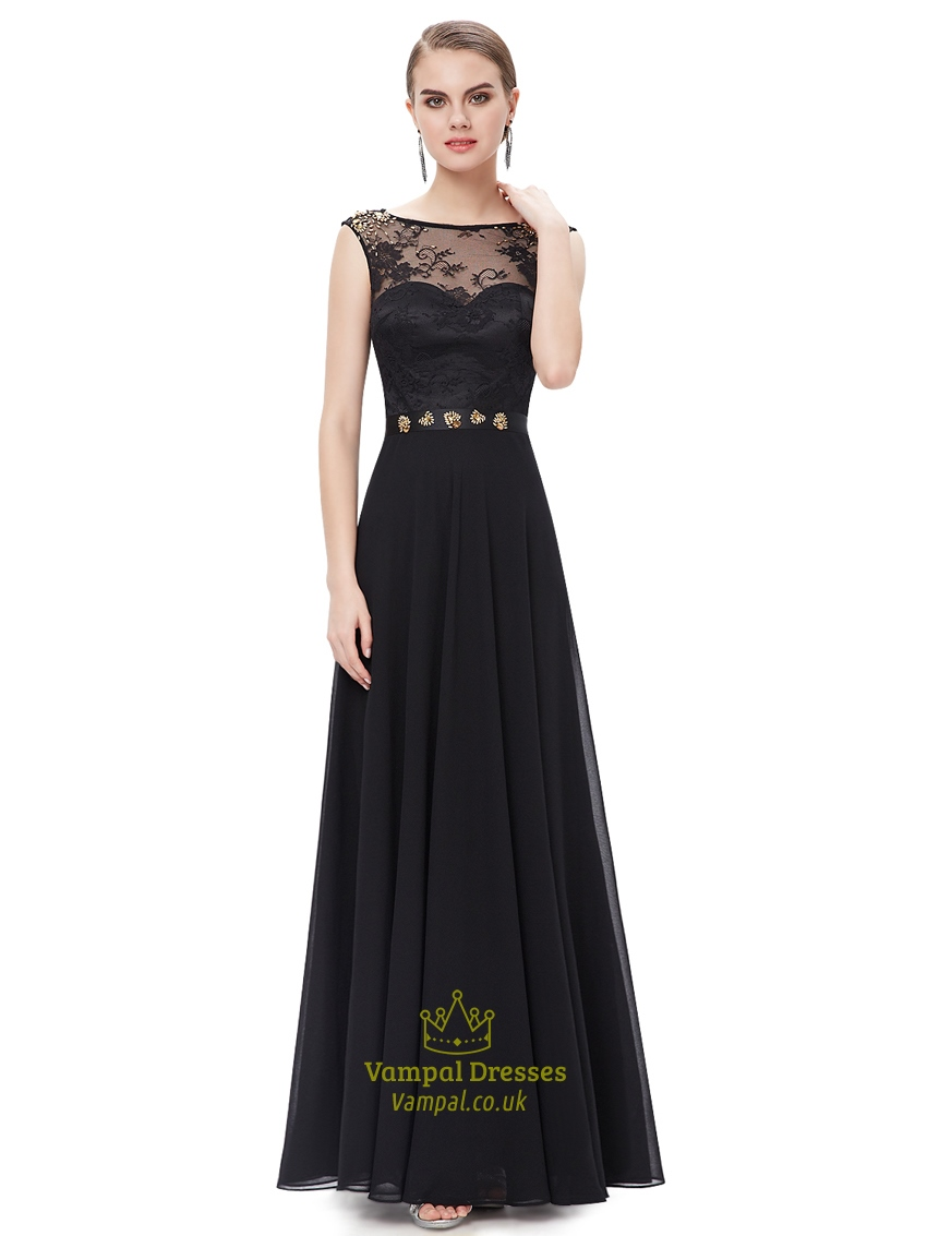 Black Bridesmaid Dresses With Cap Sleeves : Black chiffon lace bodice cap sleeves prom dress with