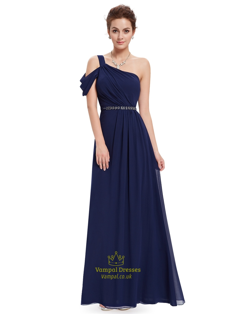 Navy Blue One Shoulder Chiffon Long Bridesmaid Dress With Beaded Waist | Vampal Dresses