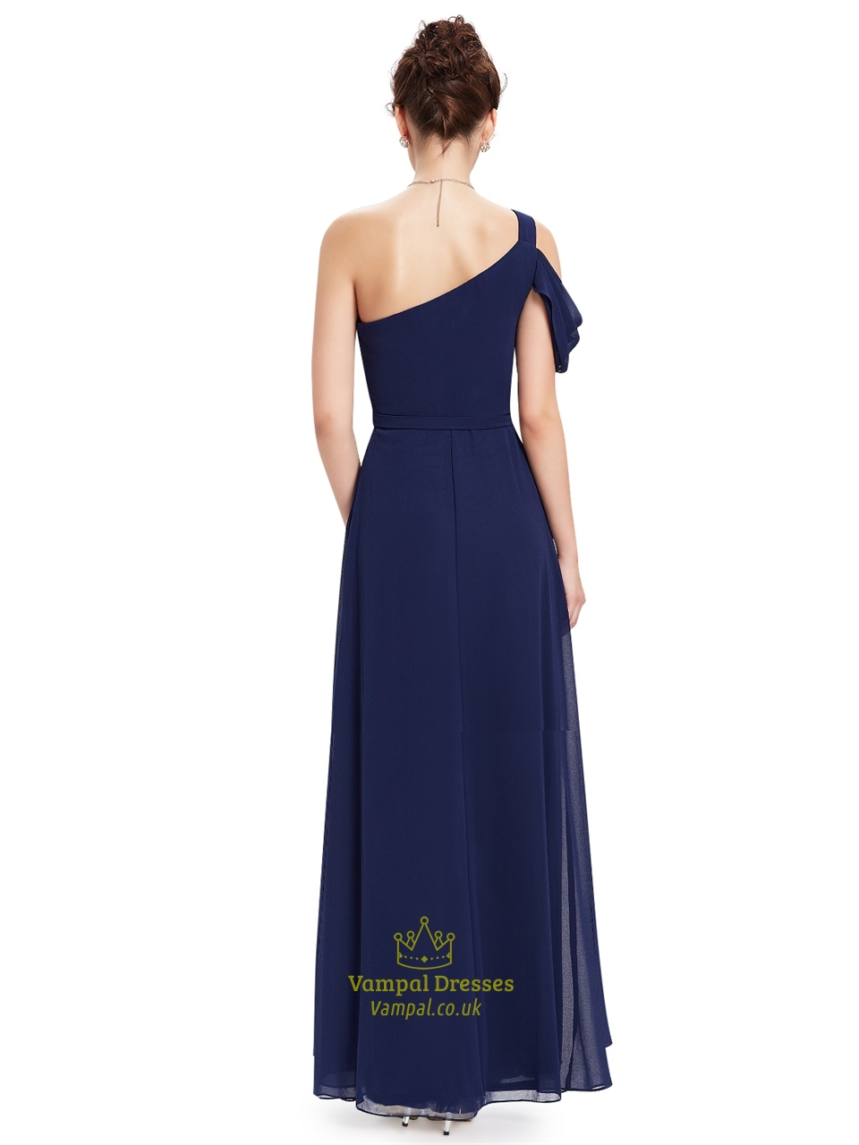 Navy blue one shoulder chiffon long bridesmaid dress with for Navy blue dresses for wedding