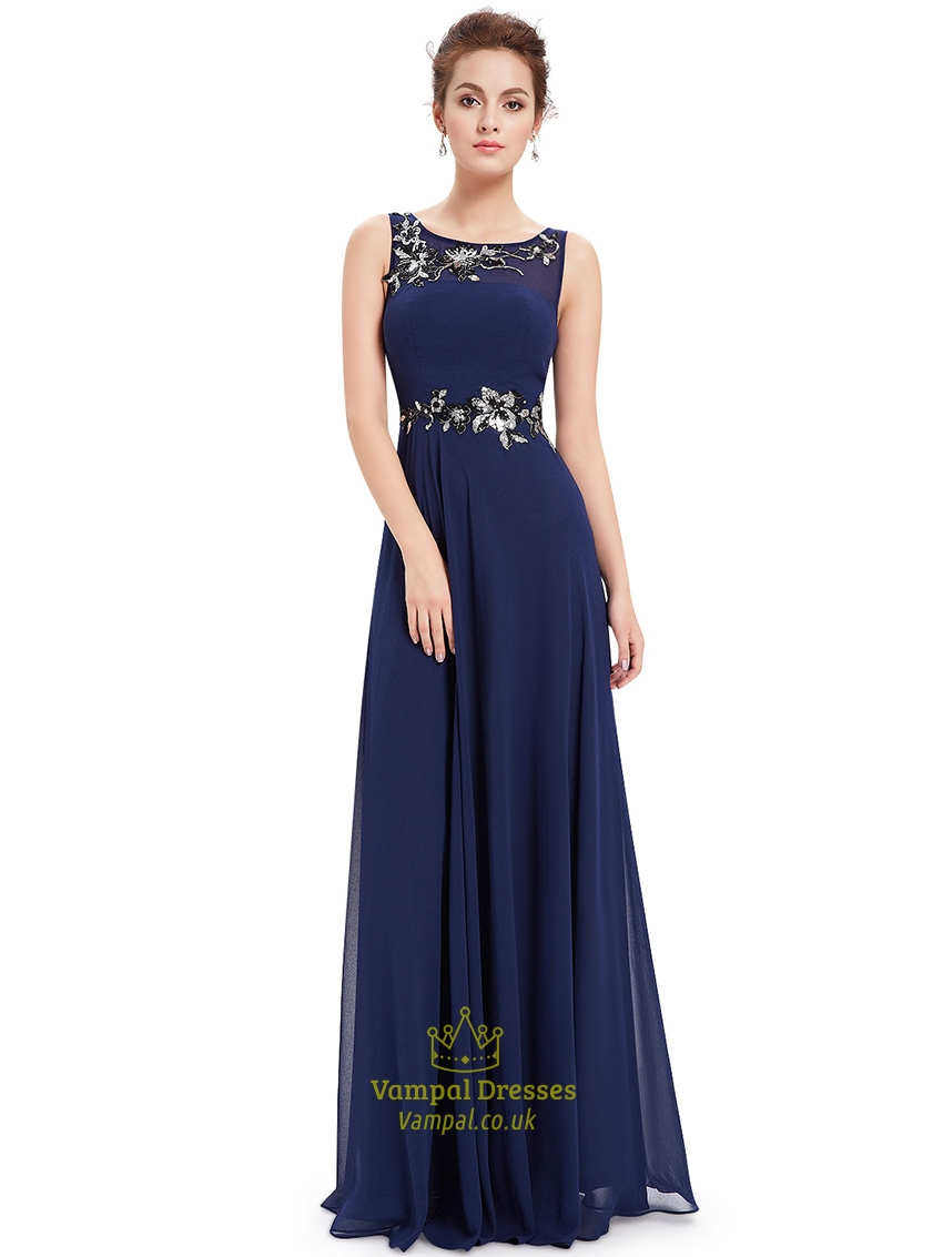 Navy Blue A-Line Chiffon Floor Length Formal Dress With ...