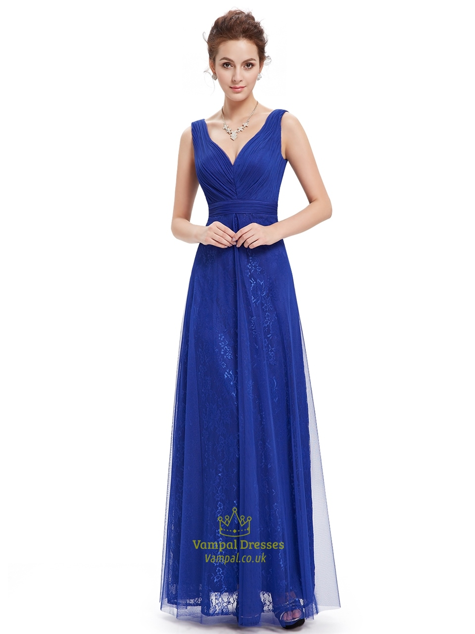 Royal Blue V Neck Sleeveless Lace Evening Dresses With ...