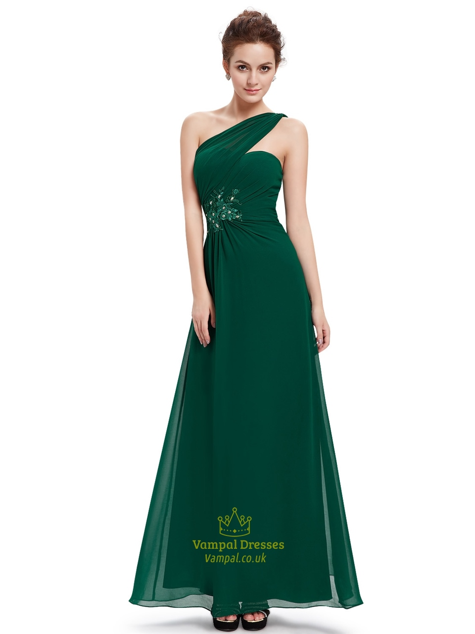 Emerald Green One Shoulder Chiffon Prom Dress With Floral