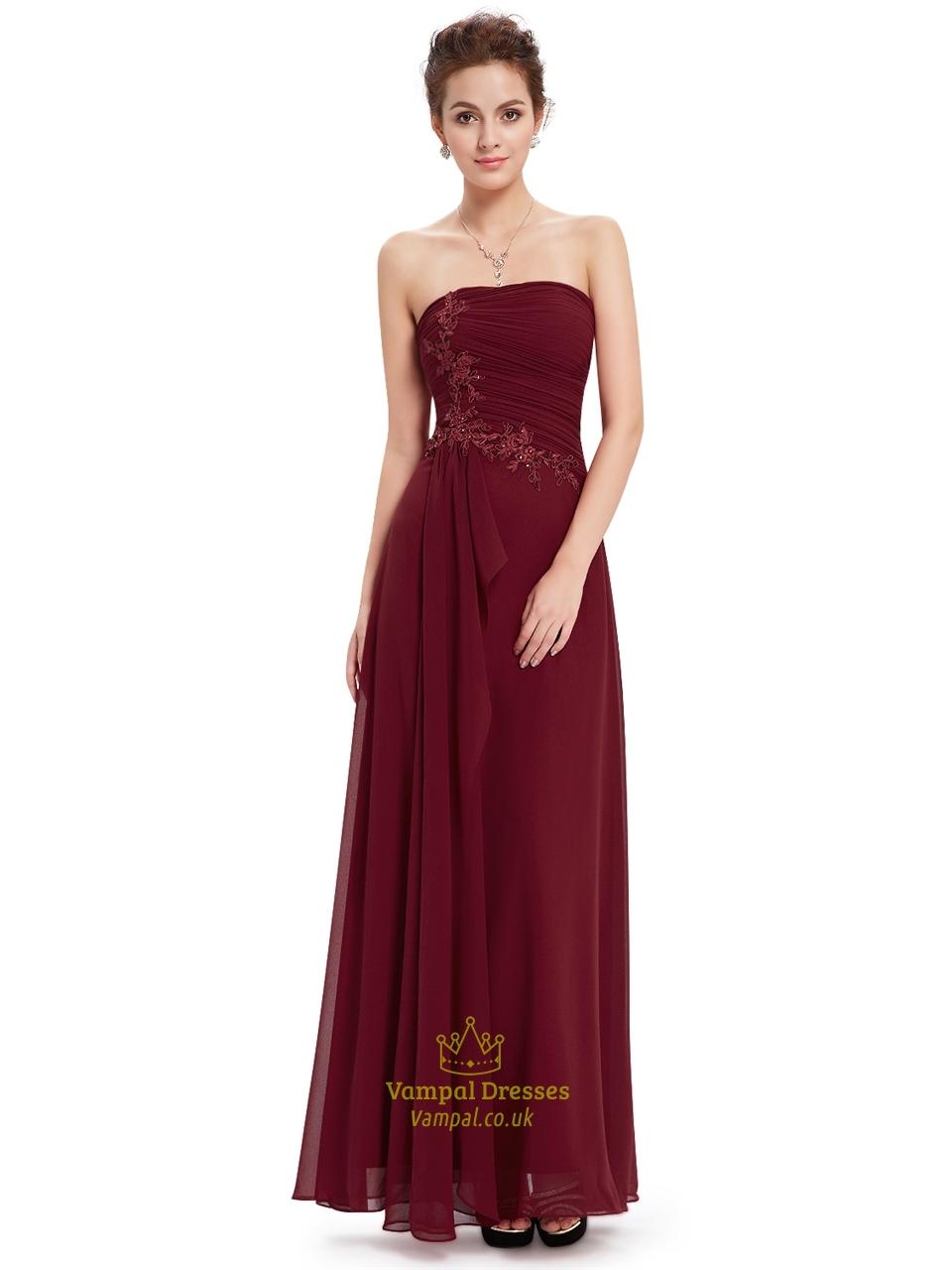 Burgundy Chiffon Strapless Bridesmaid Dresses With Applique Detail | Vampal Dresses