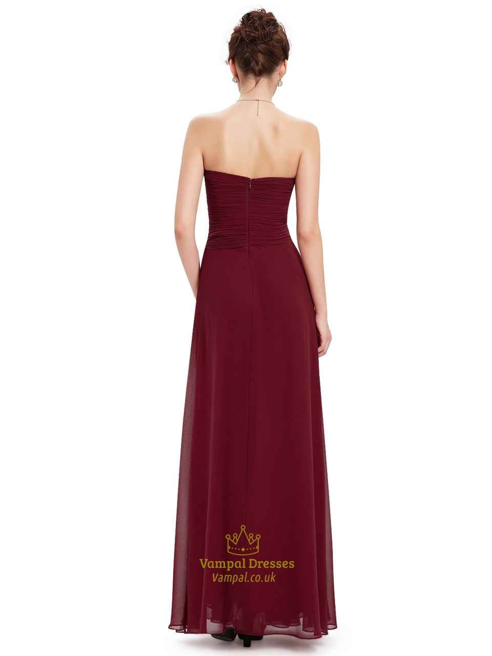 Burgundy Chiffon Strapless Bridesmaid Dresses With