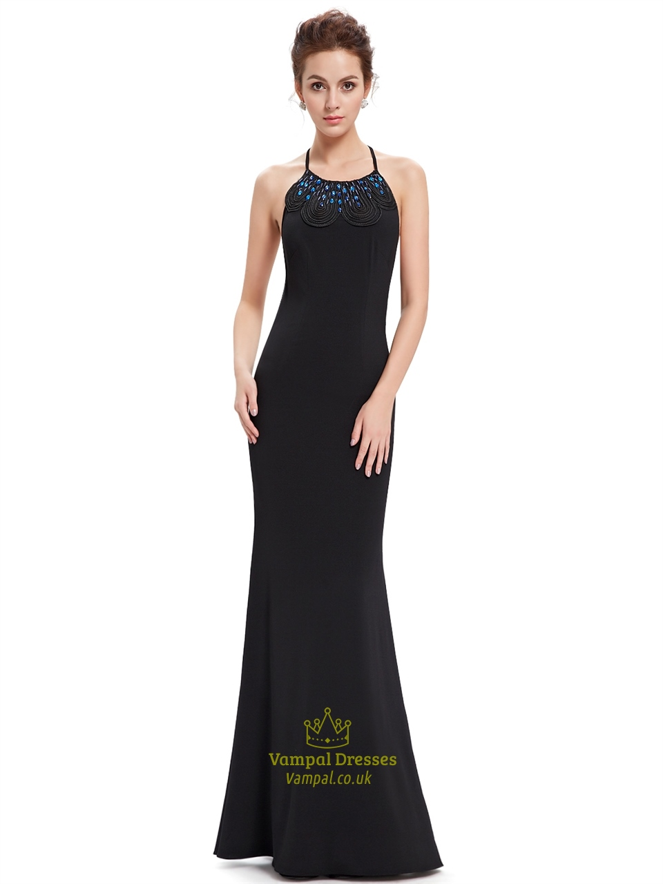 Black Long Prom Dress With Mermaid Skirt And Backless
