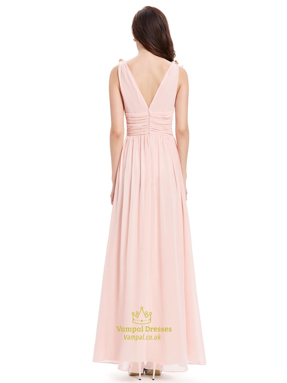 elegant light pink v neck chiffon bridesmaid dress with