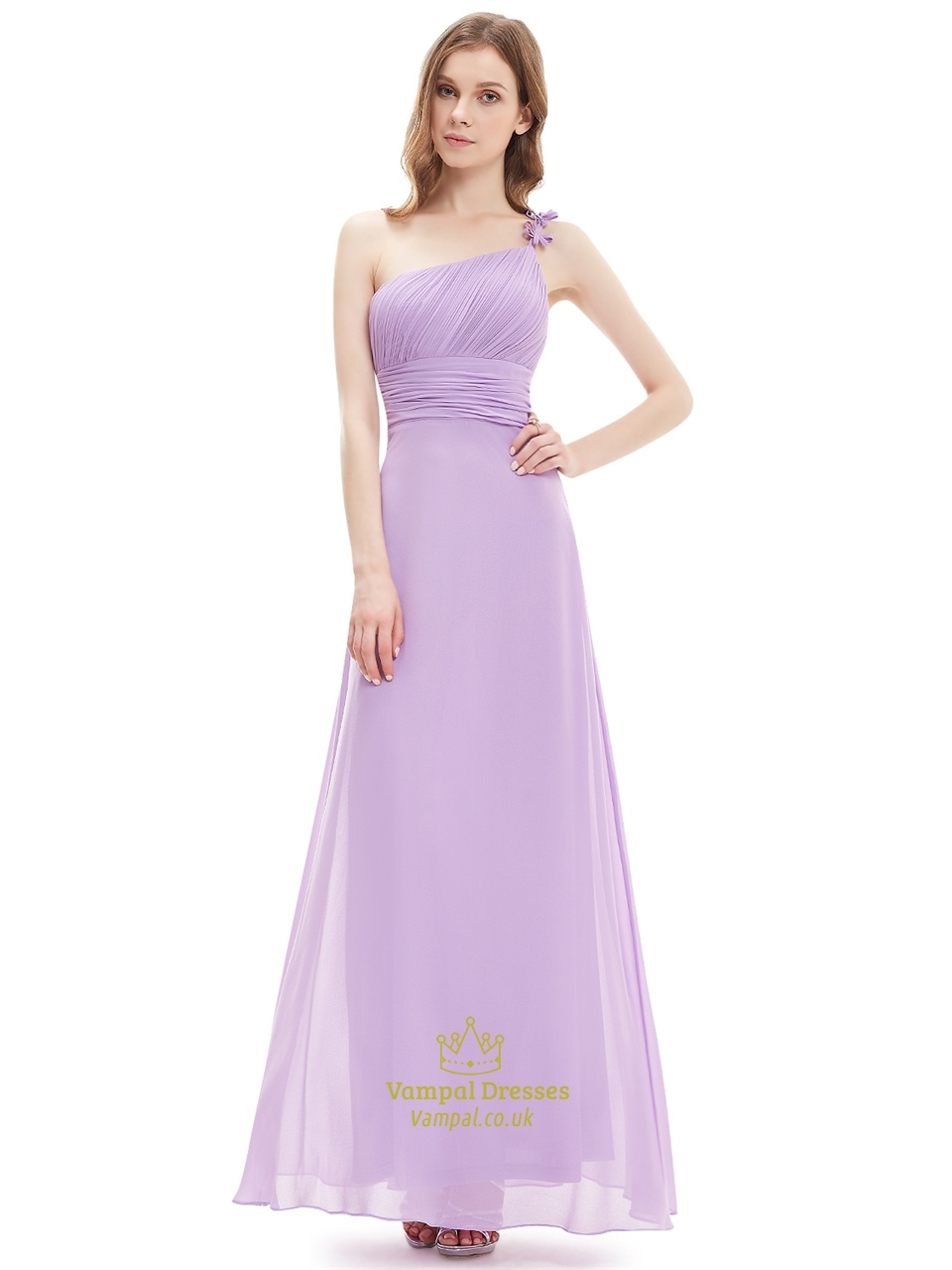 Lilac one shoulder flower strap chiffon bridesmaid dresses with lilac one shoulder flower strap chiffon bridesmaid dresses with ruching ombrellifo Images