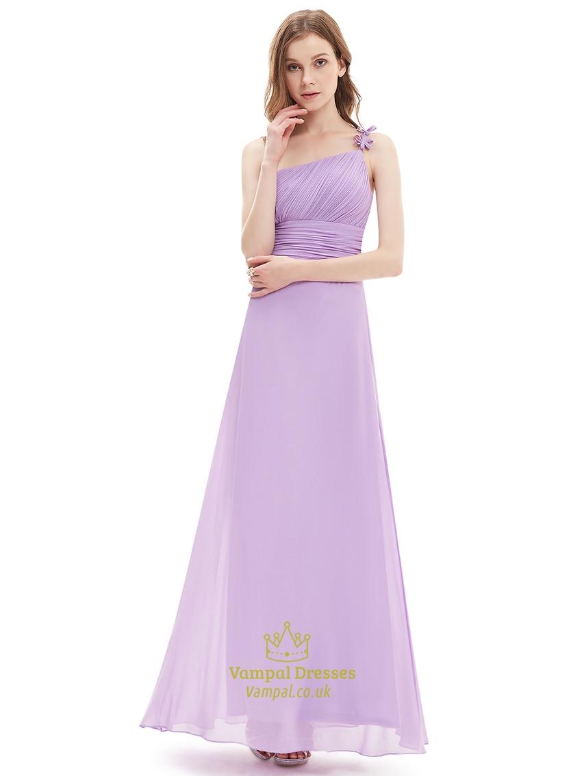 Lilac one shoulder flower strap chiffon bridesmaid dresses for One strap wedding dress