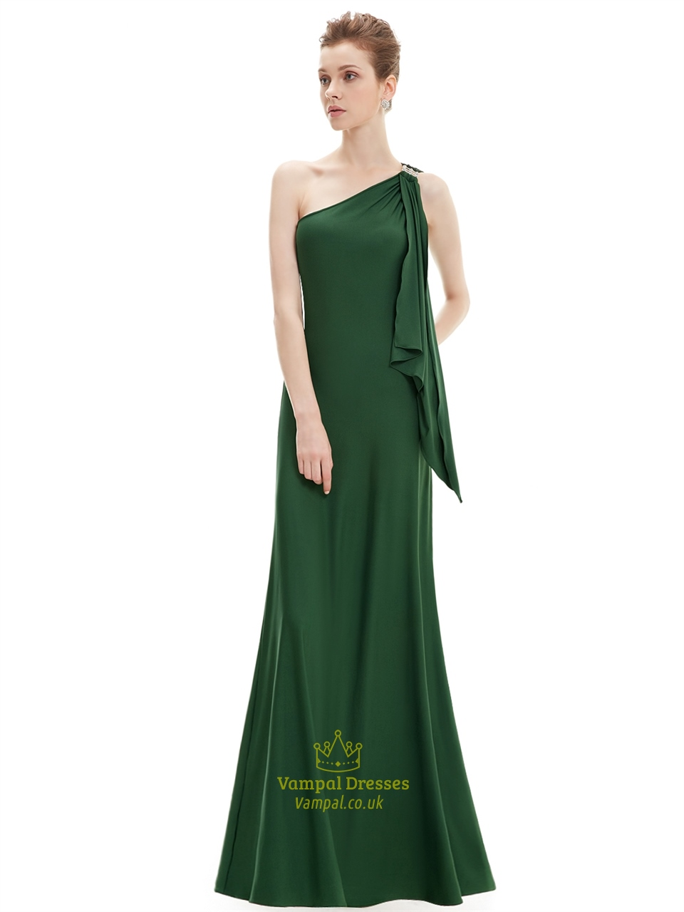 Emerald Green One Shoulder Chiffon Bridesmaid Dresses With Ruffles Vampal Dresses