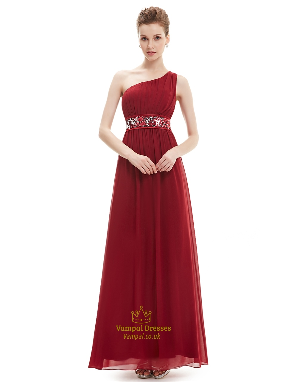 Burgundy One Shoulder Chiffon Bridesmaid Dresses With Sequin Trim ...