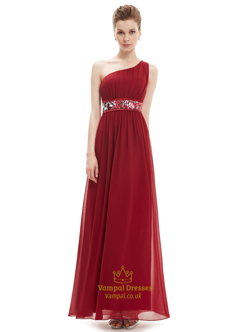 Burgundy One Shoulder Chiffon Bridesmaid Dresses With