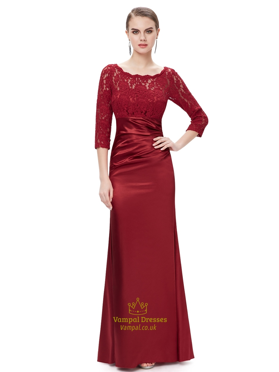 Red Lace Bodice Mother Of The Bride Dress With 3 4 Length