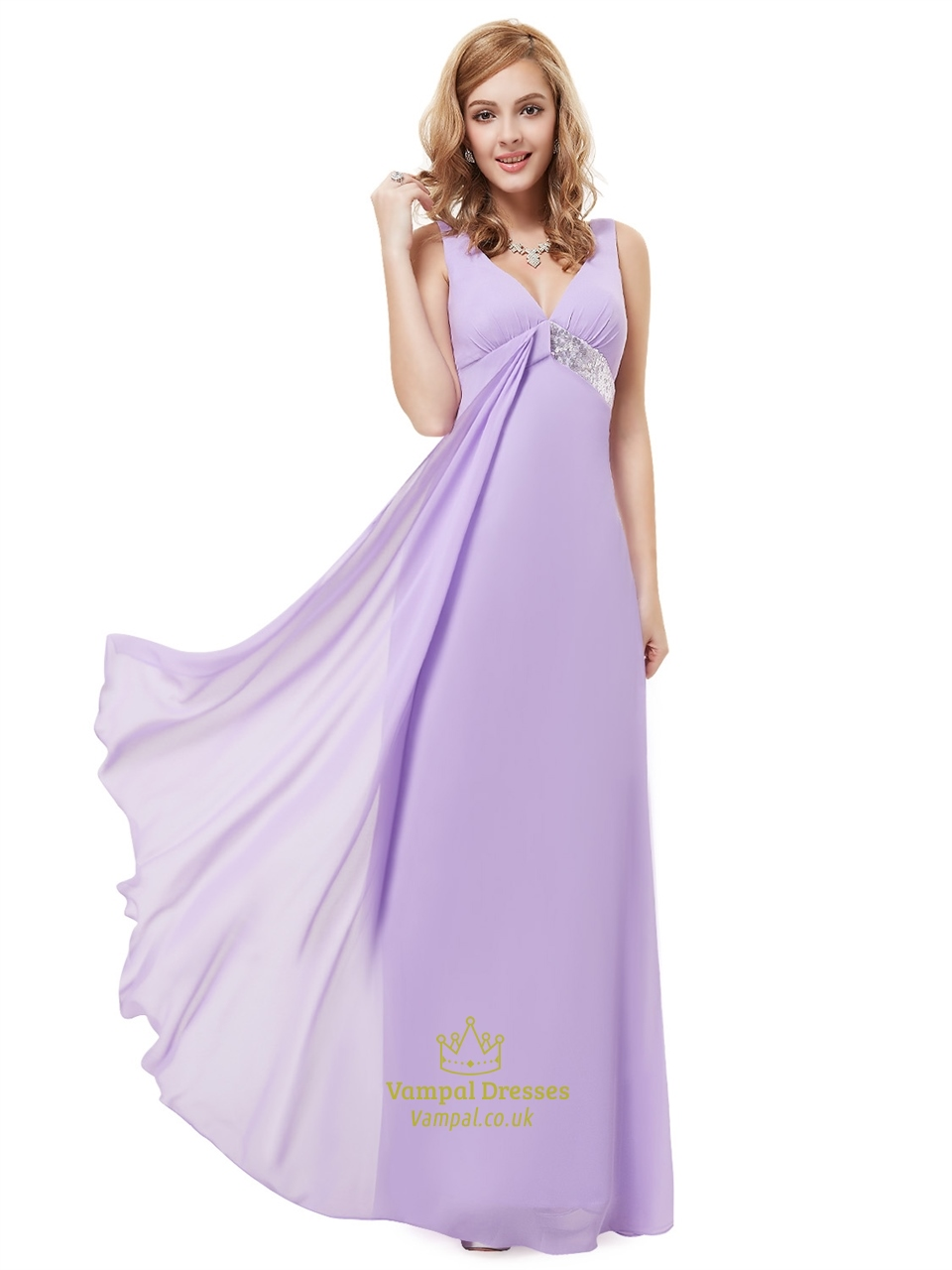 Lilac V Neck Empire Sleeveless Bridesmaid Dresses With Sequin Trims ...