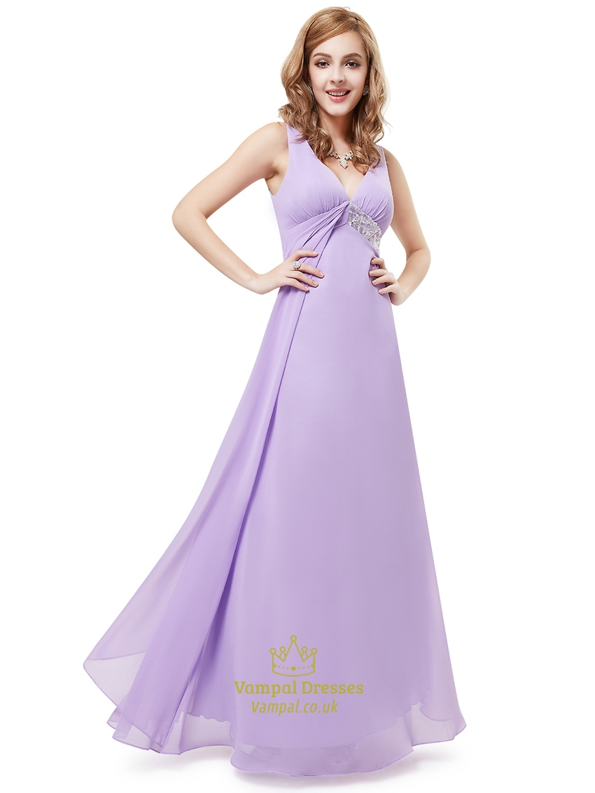 lilac v neck empire sleeveless bridesmaid dresses with