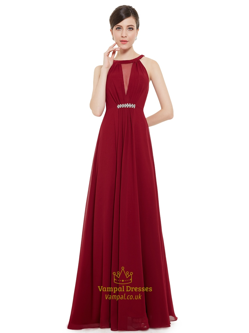 Burgundy Jewelled Neckline Chiffon Prom Dress With Beaded