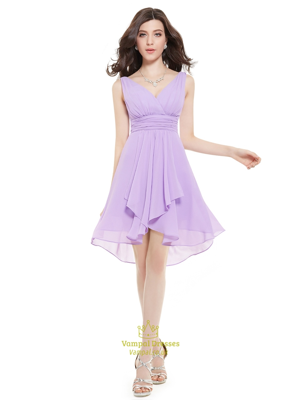 Lilac V-Neck Sleeveless Knee-Length Chiffon Bridesmaid Dresses ...