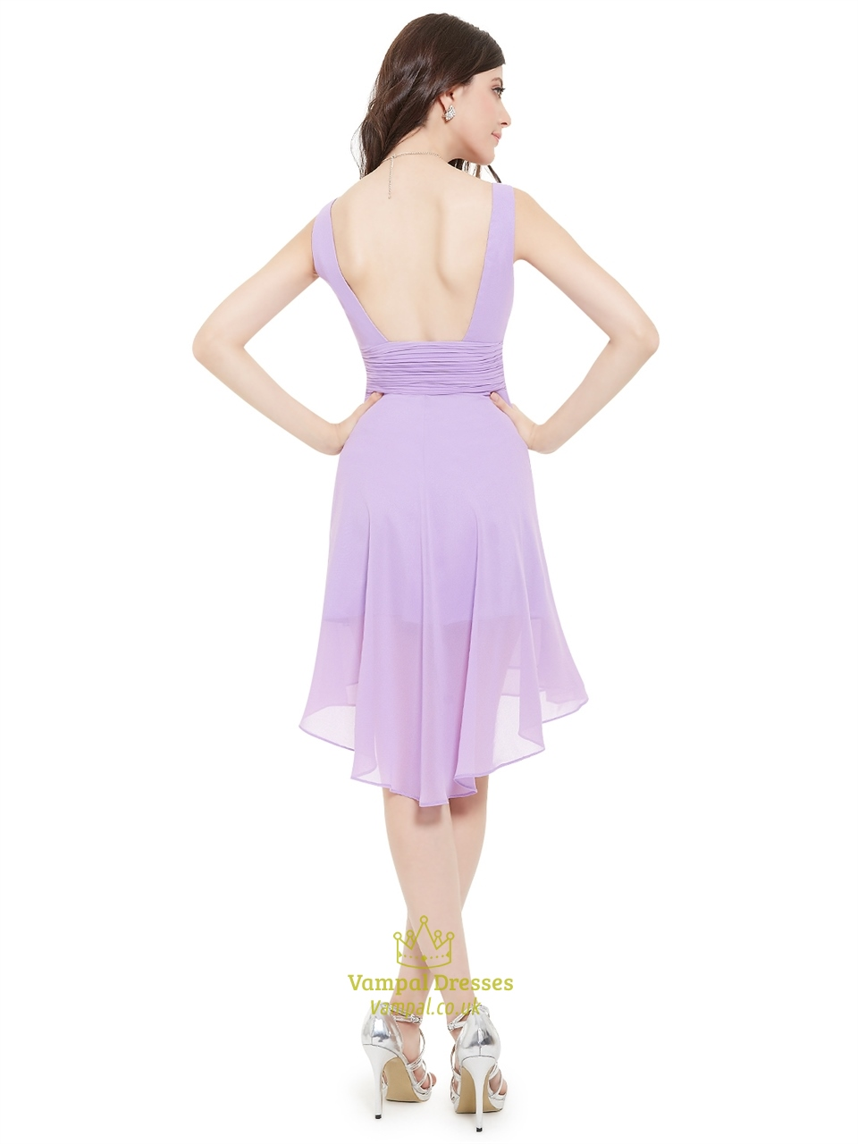 lilac vneck sleeveless kneelength chiffon bridesmaid