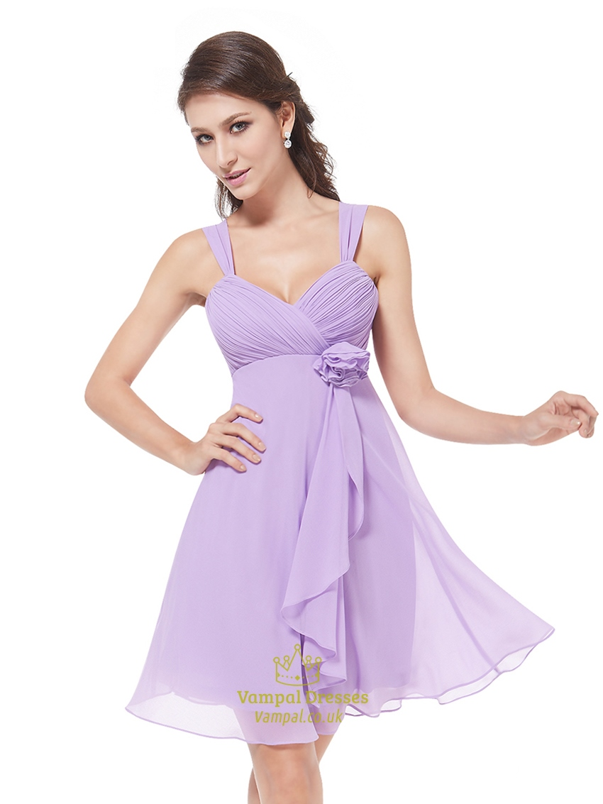 Lilac chiffon empire knee length bridesmaid dresses with for Lilac dress for wedding