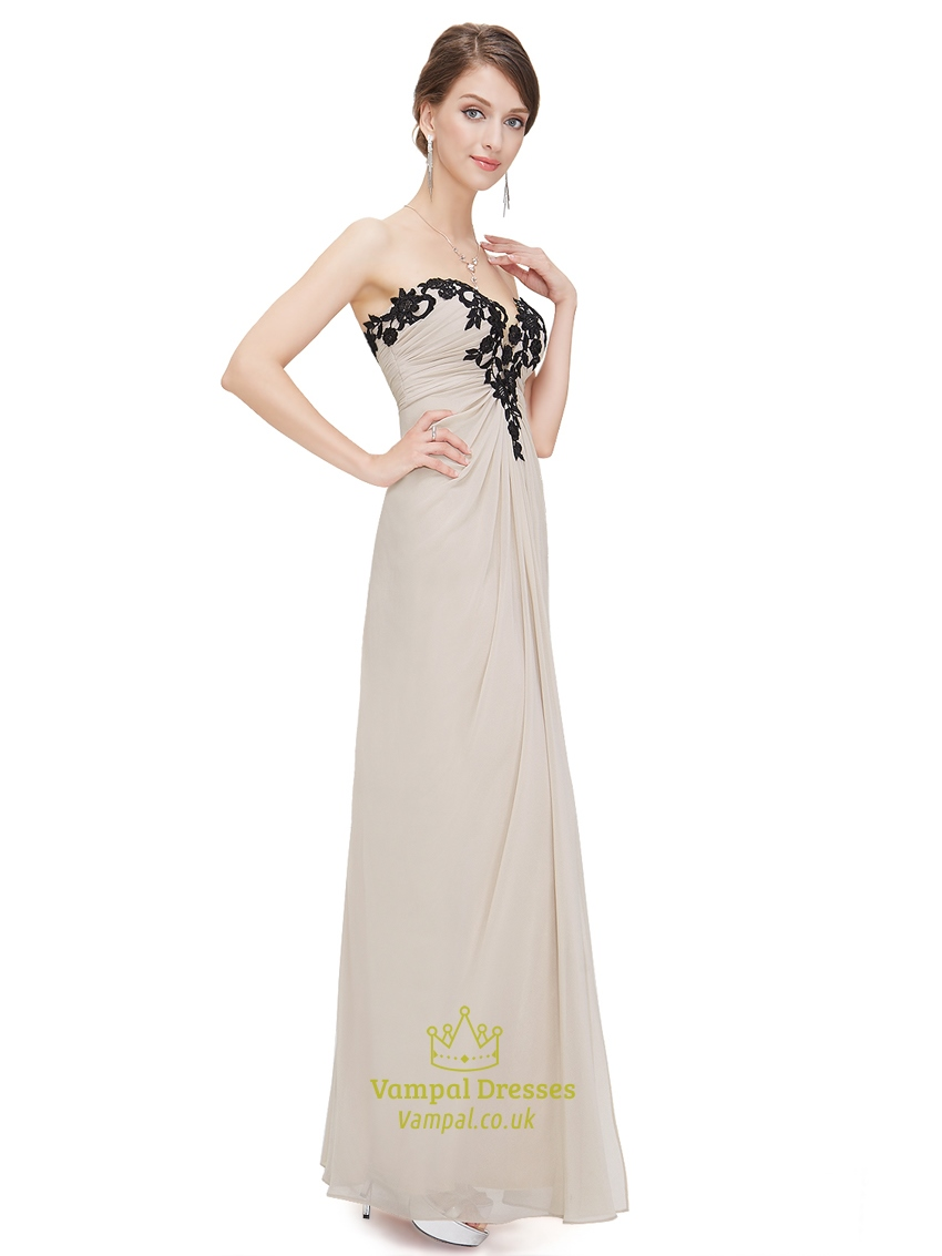 champagne strapless sweetheart chiffon prom dress with