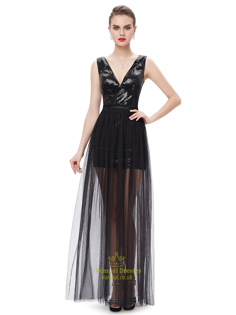 Black Contrast V Neck Sequin Prom Dress With Detachable Tulle Skirts ...